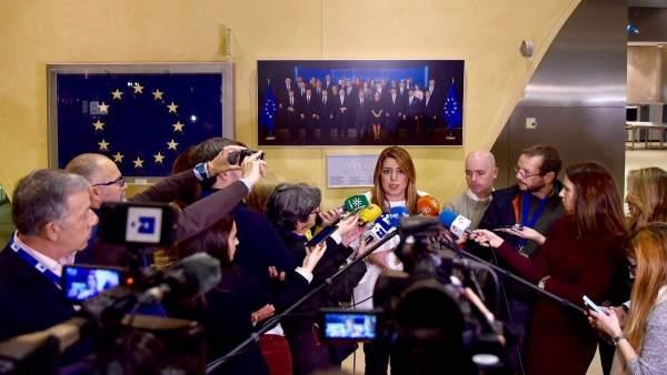 Susana Díaz atiende a los medios en su visita a las instituciones europeas