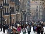 Portal de l'Àngel, Barcelona, comercio, tiendas, turistas.