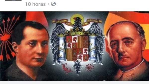 Publicidad del acto de Fuerza Nueva en Lucena en las redes sociales