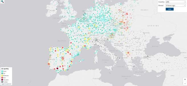 Mapa de contaminación en Europa