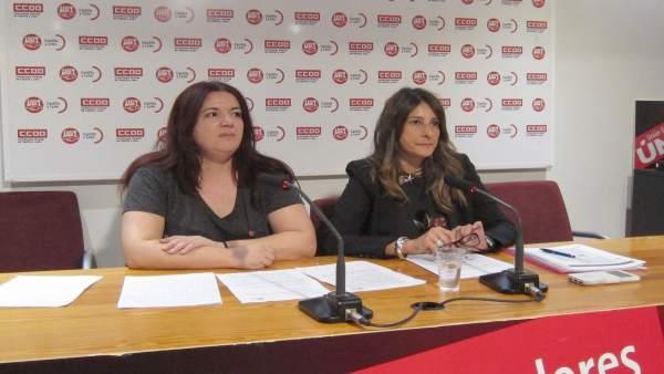 Rueda de prensa de CCOO y UGT sobre violencia de género