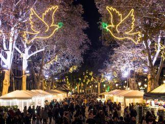 Luces de Navidad en el centro de Barcelona