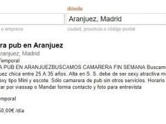 """Retiran el anuncio de un pub de Aranjuez que buscaba """"camarera sexy y mínimo talla 95 de pecho"""""""