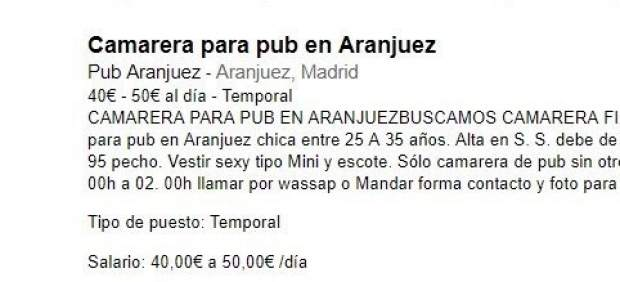 Anuncio machista Aranjuez