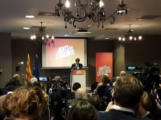 Carles Puigdemont en la presentación de JuntsxCat