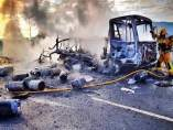 Un camió de butà s'incendia a Asp