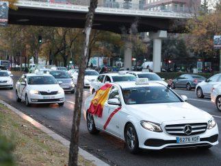 Protesta de taxistas en el Paseo de la Castellana