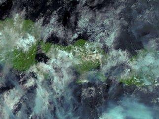 La erupción del Agung, desde el espacio