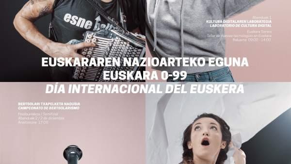 Cartel anunciador de la programación para el Día Internacional del Euskera