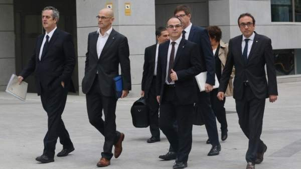 Rull, Forn, Romeva, Turull y Borras llegan a la Audiencia Nacional para declarar.