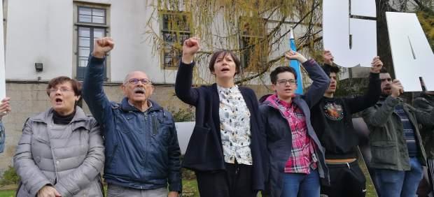 Ana Pontón y Lois Diégues en el acto del BNG contra la Constitución