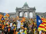 Independentistas se concentran en Bruselas