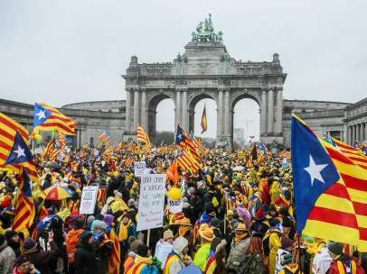 Independentistas se concentran en Bruselas