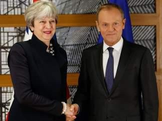 Theresa May y Donald Tusk