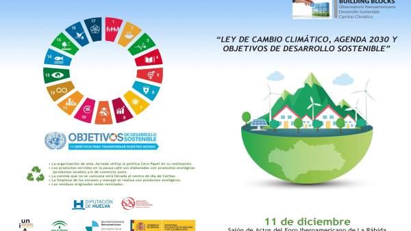 Díptico sobre jornada en Huelva sobre ley andaluza de cambio climático