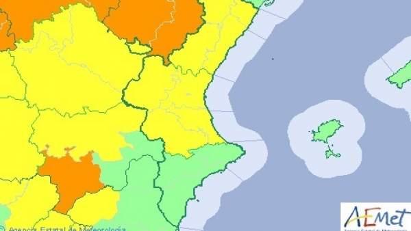 Nivel de aviso en la Comunitat Valenciana