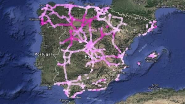 Mapa de carreteras afectadas