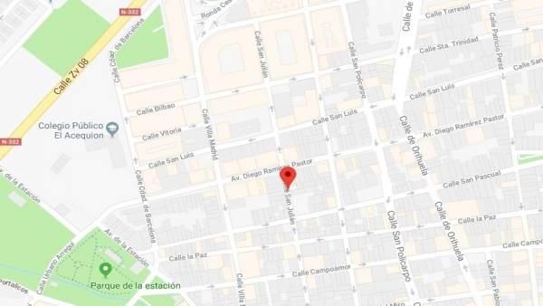 Plano de Torrevieja con la calle San Julián