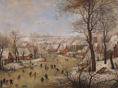 Paisaje nevado con patinadores y trampa para pájaros, hacia 1601