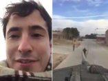 Hombre subido a un tanque