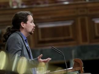 El secretario general de Podemos, Pablo Iglesias, en el Congreso.