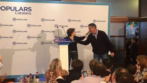 Soraya Sáenz de Santamaría y Xavier García Albiol en un mitin en Girona