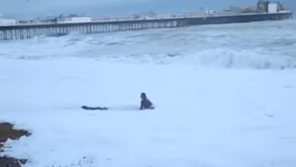 Una mujer arriesga su vida para salvar a su perro en la playa