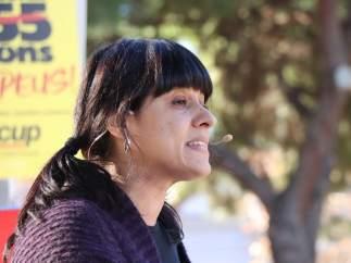 Anna Gabriel en un acto de campaña de la CUP en Sabadell (Barcelona).