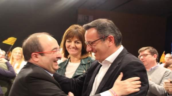 El secretario general del PSRM-PSOE, Diego Conesa con Iceta