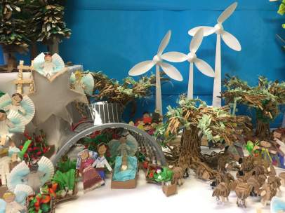 Uno de los belenes sostenibles de la exposición 'El belén de mi colegio'