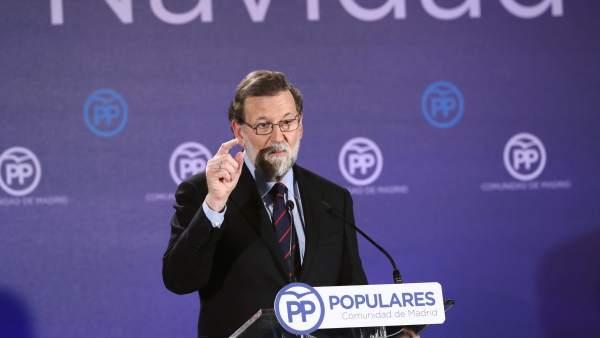 Mariano Rajoy en la cena de Navidad del PP