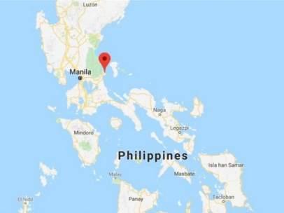 Mapa del lugar del naufragio en Filipinas