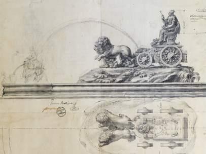 Dibujo de la Cibeles realizado por Ventura Rodríguez