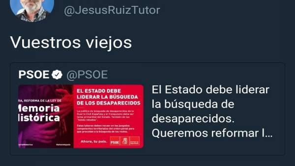Tuit de Ruiz Tutor sobre Memoria Histórica