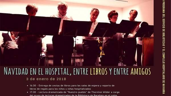 Cartel de las actividades 'Navidad en el Hospital, entre libros y entre amigos'.