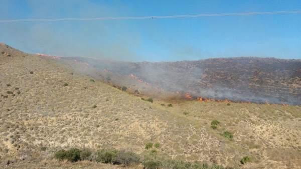 Incendio en un paraje de Carboneras (Almería)
