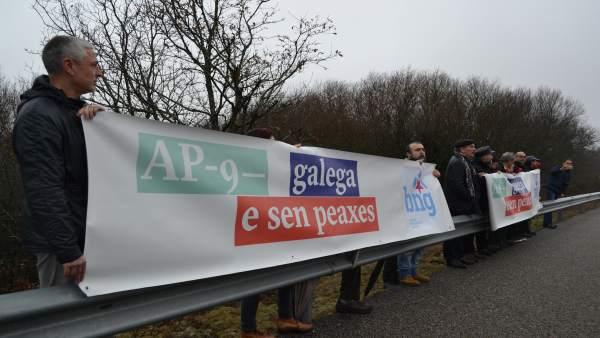 Acto del BNG contra los peajes de la AP-9