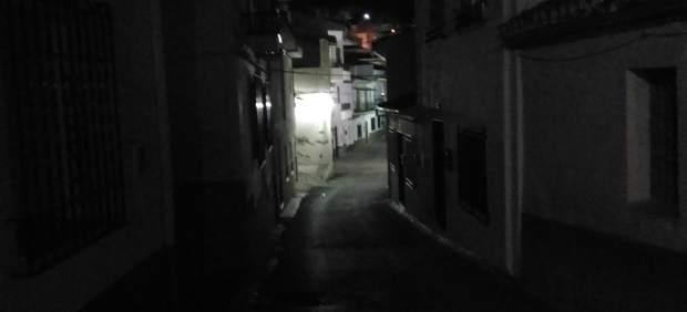 Calle Málaga, a oscuras