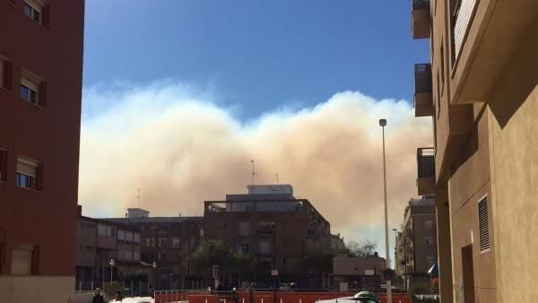 Incendio en el marjal visto desde Puerto de Sagunto