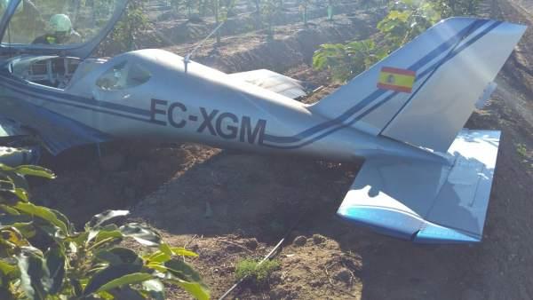 Avioneta estrellada en la Axarquía
