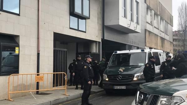 Comparecencia de 'el Chicle' en los juzgados de Ribeira el 4 de enero de 2018