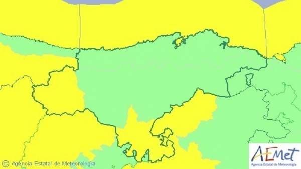 Mapa de avisos para este viernes en Cantabria