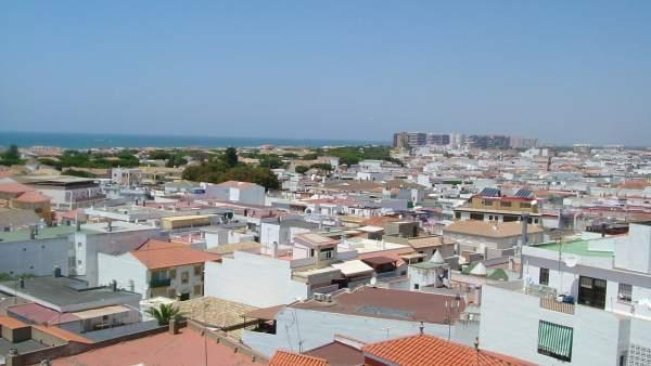 Vista aérea de Punta Umbría (Huelva).
