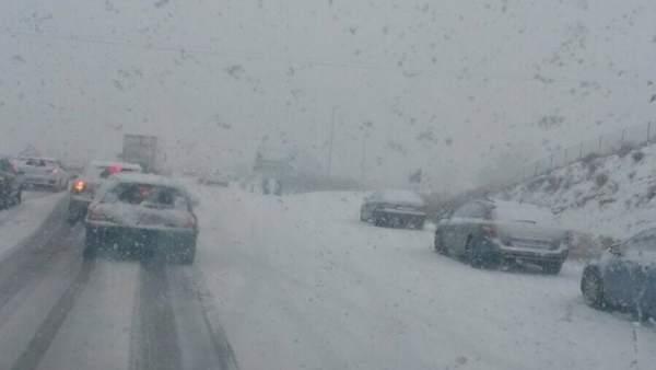 Nieve, carretera, nevada, frío
