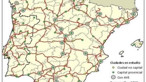 Mapa de la red ferroviaria de la península ibérica