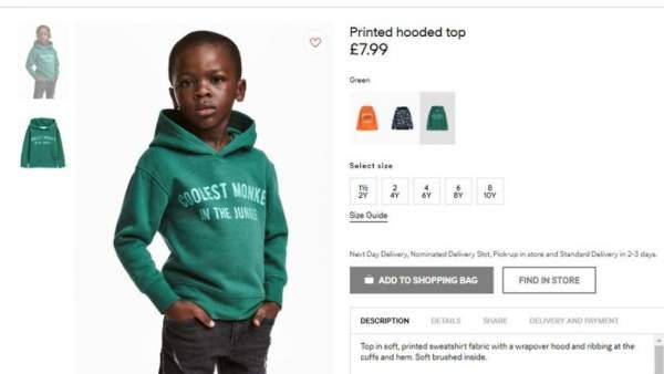 H&M racismo modelo negro niño sudadera