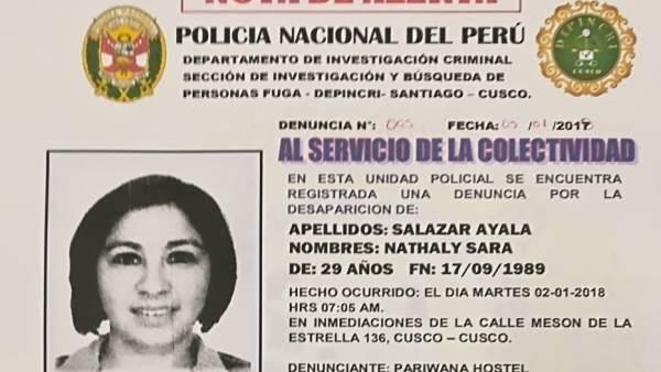 La valenciana desaparecida en Perú