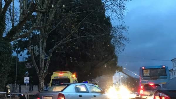 Ambulancia ciclista herido en Santiago