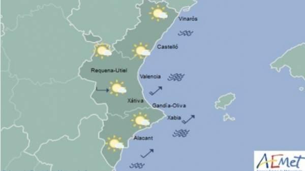 Cel poc nuvolós i temperatures de fins a 18ºC aquest dimarts a la Comunitat Valenciana