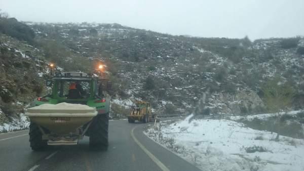 Trabajos nevadas 9 enero Málaga